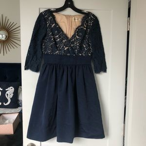 Eliza J Lace and Silk Navy Cocktail Dress Sz 2